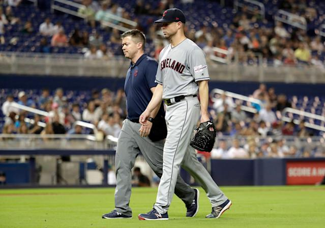 Indians ace Corey Kluber diagnosed with forearm fracture. (AP Photo/Lynne Sladky)