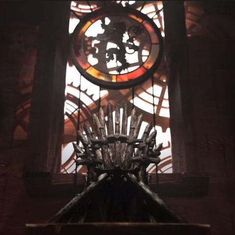 The Iron Throne stands under the lion sigil in the season eight opening credits
