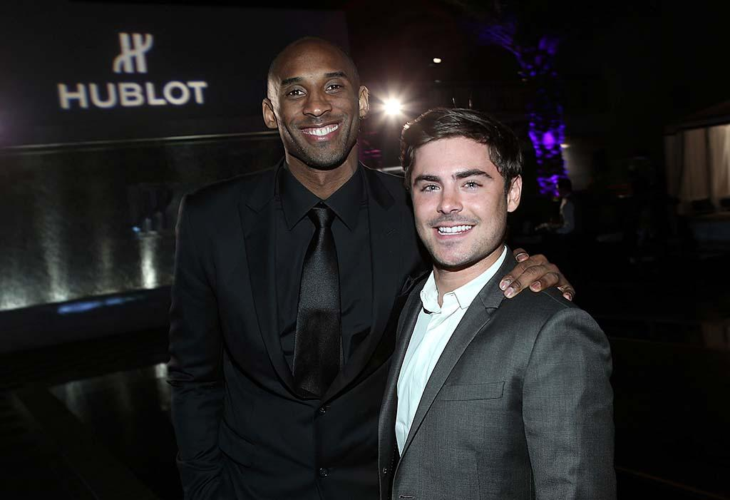 Lakers fan Zac Efron smiled big as he hung out with one of the team's stars, Kobe Bryant, at the Hublot soiree introducing Bryant as the watchmaker's ambassador on Wednesday in L.A. Efron was undoubtedly happy to hear that Bryant was expected to be back on the court Friday after being sidelined for two games because of a sprained ankle and the flu. (3/20/2013)