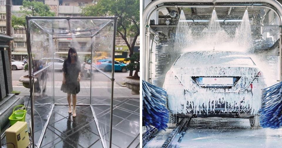 """<p>A funny """"disinfectant asile""""set up in front of an office building in Taiwan caught social media users' attention. (Photo courtesy of 爆廢公社 and Shutterstock)</p>"""