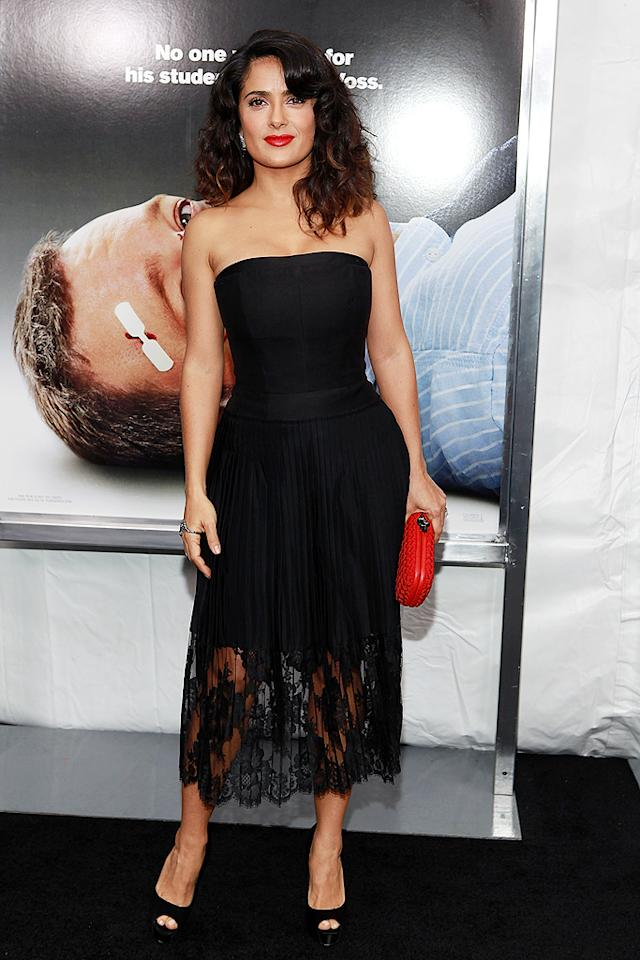 "46-year-old Salma Hayek sizzled in a strapless Stella McCartney creation as she made her way into the New York City premiere of ""Here Comes the Boom"" on Tuesday evening. The hot mama -- who recently told <em>Harper's Bazaar</em> that <a target=""_blank"" href=""http://blog.zap2it.com/pop2it/2012/10/salma-hayek-im-dyslexic-short-and-chubby-in-harpers-bazaar-november-issue.html"">she avoids Botox, not carbohydrates</a> -- paired her lacy look with Brian Atwood peep-toes and a pop of color, courtesy of a Bottega Veneta clutch. (10/9/2012)<br><br><a target=""_blank"" href=""http://twitter.com/YahooOmg"">Follow omg! on Twitter!</a>"
