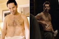 "<p>The 46-year-old 'Anchorman' star got in the best shape of his life to play Scott Lang in 'Ant-Man'. His co-star Michael Douglas said ""[Paul] was so cut, that they had to soften his costume up.""<br></p>"