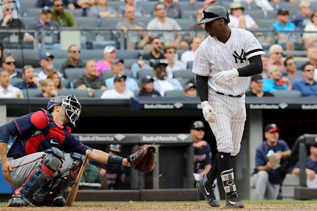 Didi Gregorius set the Yankees' shortstop record for homers, but before rounding the bases, he apolgized to Jason Castro. (Getty Images)