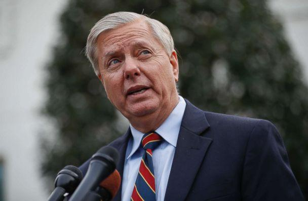PHOTO: Sen. Lindsey Graham speaks to members of the media outside the West Wing of the White House in Washington after his meeting with President Donald Trump, Dec. 30, 2018. (Pablo Martinez Monsivais/AP)