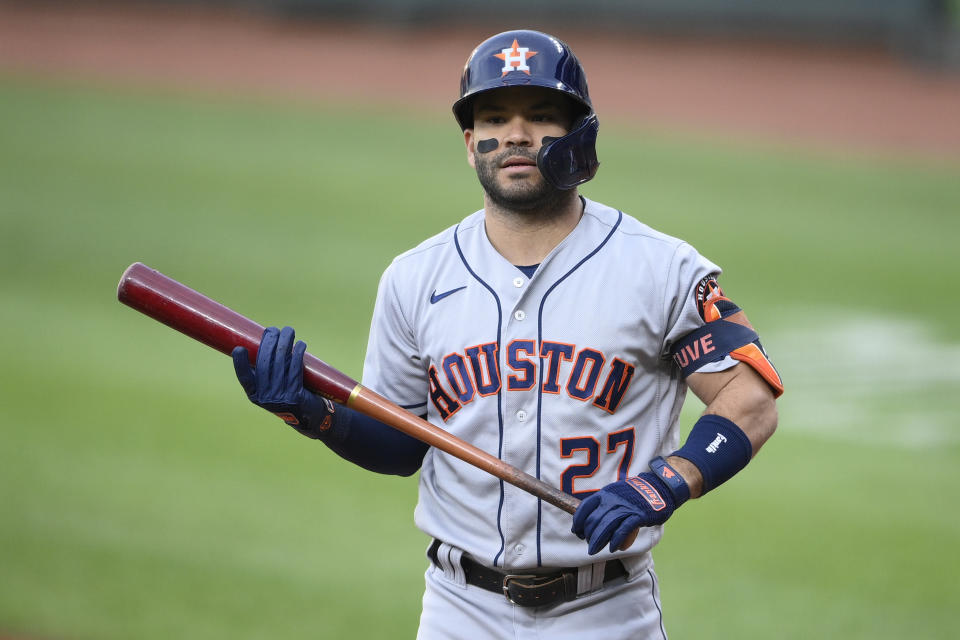 Houston Astros' Jose Altuve stands on the field during a baseball game against the Baltimore Orioles, Tuesday, June 22, 2021, in Baltimore. (AP Photo/Nick Wass)