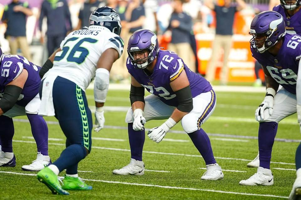 Minnesota Vikings left guard Ezra Cleveland lines up against the Seattle Seahawks in the first half of an NFL football game Sunday in Minneapolis.