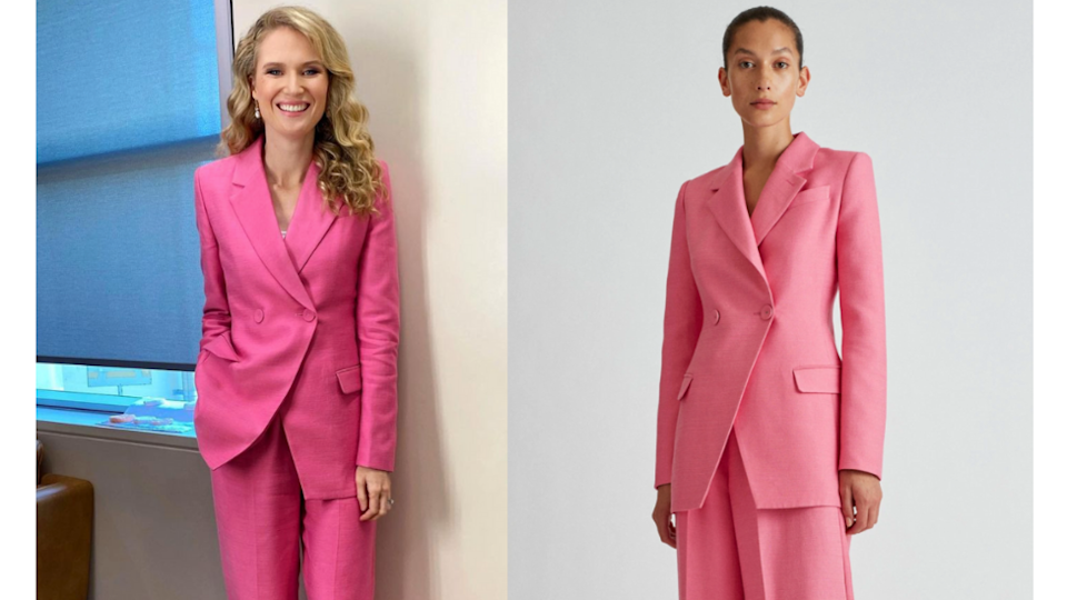 Amelia Broun in a pink power suit