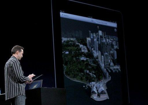 Apple Senior VP of iPhone Software Scott Forstall demonstrates Flyover, part of the new map application featured on iOS 6 during the 2012 Apple WWDC keynote address at the Moscone Center on June 11 in San Francisco, California