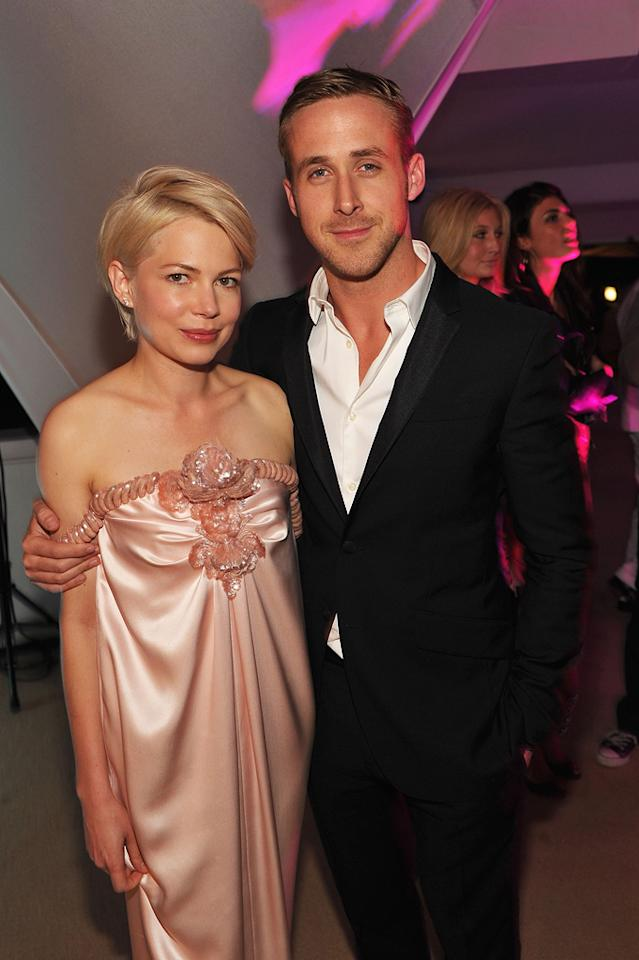 "Months ago there were rumors Ryan Gosling and Michelle Williams were more than just co-stars in the upcoming film, ""Blue Valentine."" Now, <i>Star</i> is reporting they recently shared an ""intimate dinner"" in Toronto, where she's filming ""Take This Waltz."" For the full dish on the duo, read <a href=""http://www.gossipcop.com/ryan-gosling-michelle-williams-blue-valentine-dating/"" target=""new"">Gossip Cop.</a> John Shearer/<a href=""http://www.gettyimages.com/"" target=""new"">GettyImages.com</a> - May 18, 2010"