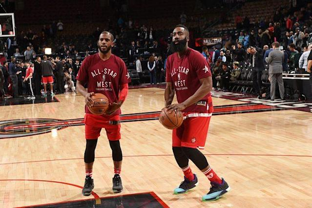 """<a class=""""link rapid-noclick-resp"""" href=""""/nba/players/3930/"""" data-ylk=""""slk:Chris Paul"""">Chris Paul</a> and James Harden may not seem like the most natural pairing, but it's gonna be fun. (Photo by Ron Turenne/NBAE via Getty Images)"""