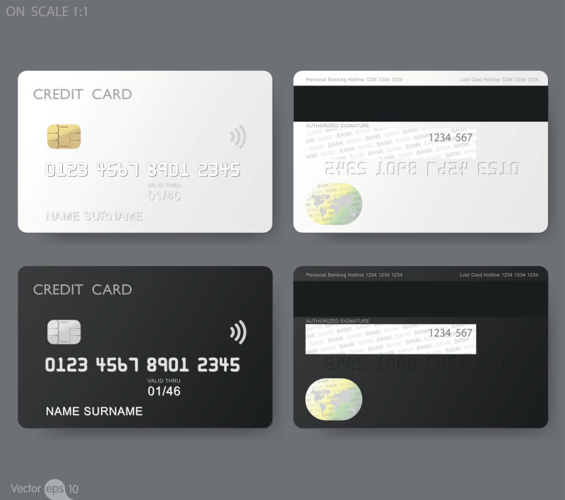 Silver credit card on top of black credit card with front view to the left and back view to the right