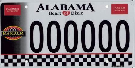 <p>Alabama was nice enough to give the Barber Vintage Motorsports Museum its own plate, featuring the facility's logo and a sweet checkered finish line. </p>