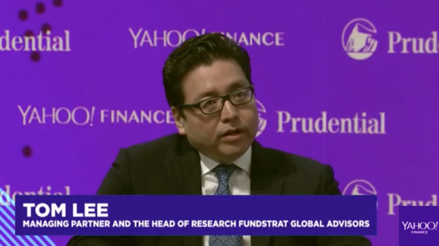 Tom Lee outlined his view on Bitcoin at Yahoo Finance's All Markets Summit on Wednesday. (Source: Yahoo Finance)