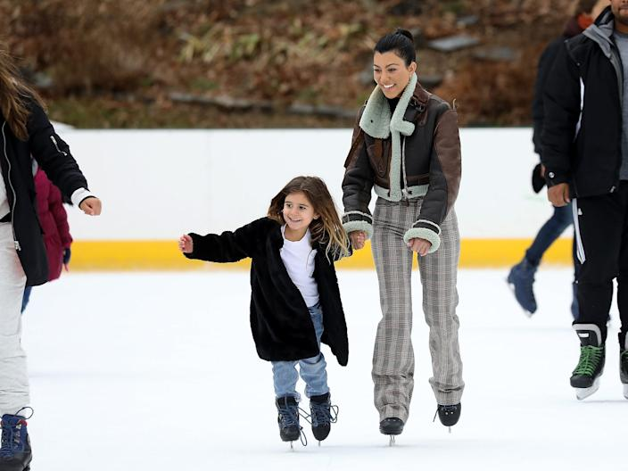 kourtney kardashian penelope ice skating central park