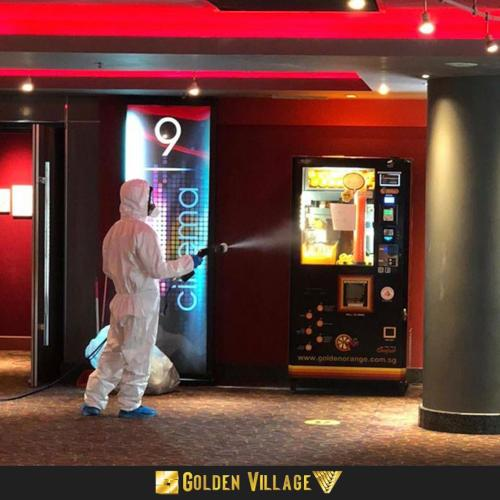Even general areas in the cinema like the popcorn machine is disinfected.
