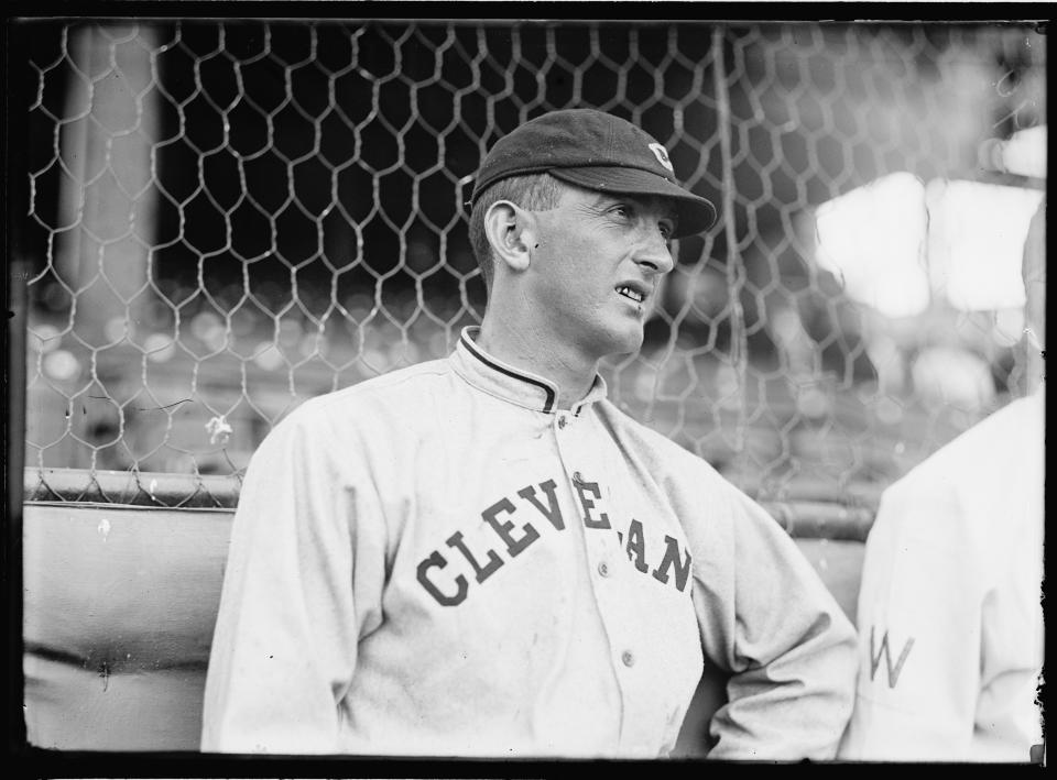 View of American baseball player Shoeless Joe Jackson (1888 - 1951), of the Cleveland Naps (later Cleveland Indians), 1913. (Photo by PhotoQuest/Getty Images)