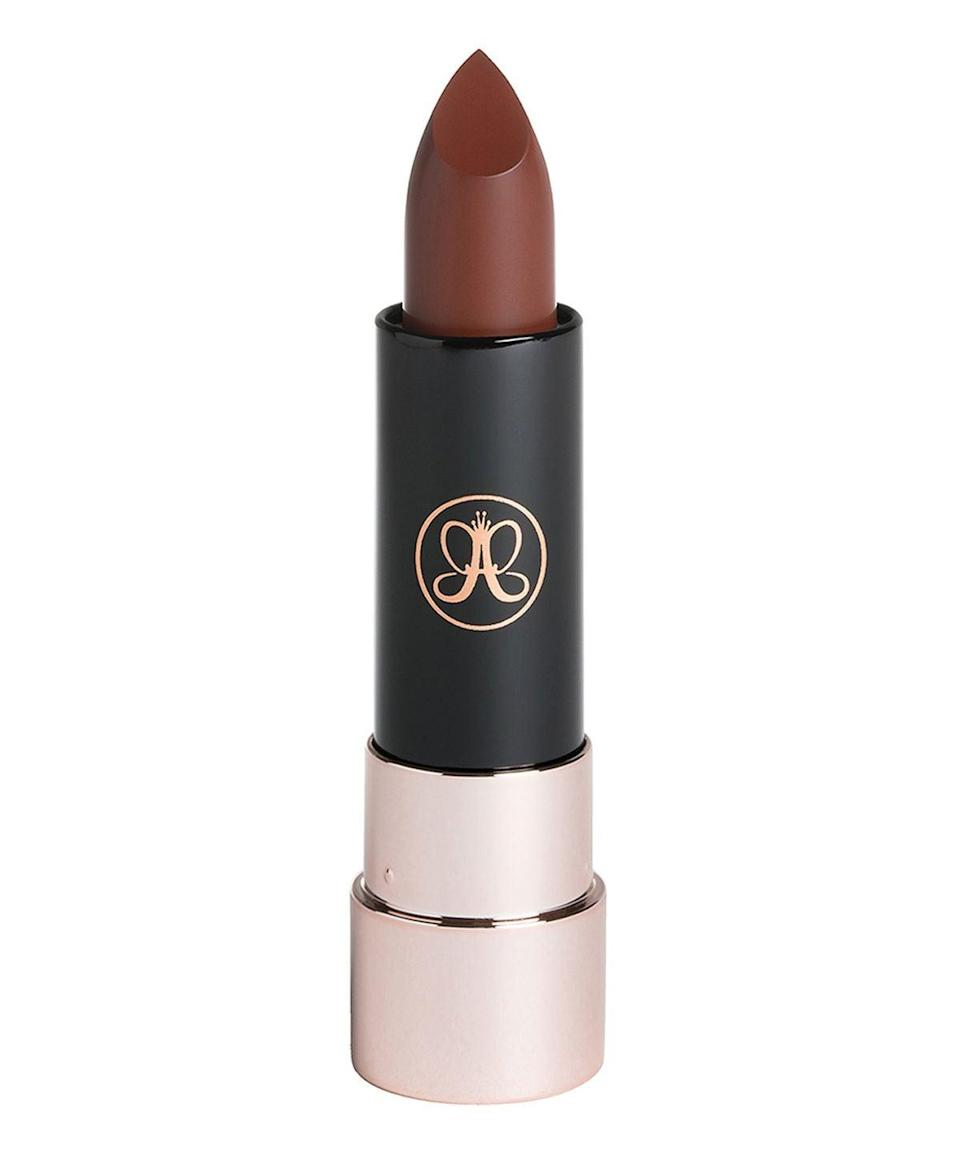 "<p>""<span>Anastasia Beverly Hills Matte Lipstick in Rust</span> ($1818) is a gorgeous matte chocolate shade which really complements my skin tone - which is also of a chocolatey hue,"" said makeup artist <a href=""https://www.instagram.com/paulinebriscoe/?hl=en"" class=""link rapid-noclick-resp"" rel=""nofollow noopener"" target=""_blank"" data-ylk=""slk:Pauline Briscoe."">Pauline Briscoe.</a></p>"