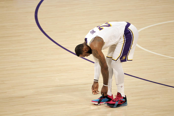 Los Angeles Lakers superstar LeBron James will miss his 28th game of the season on Monday night. (Michael Owens/Getty Images)