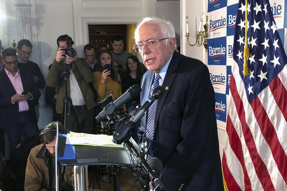 Democratic presidential candidate Sen. Bernie Sanders, I-Vt., speaks at his campaign headquarters, Wednesday, March 4, 2020, in Burlington, Vt. (Wilson Ring/AP)