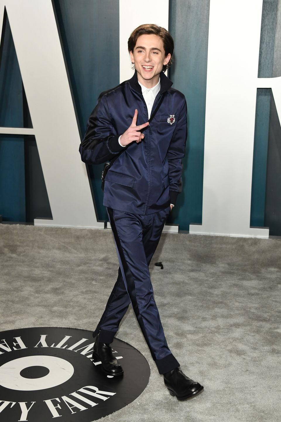 <p>Rulebooks are there to be torn up, and stamped all over in shiny, generously-heeled boots. Which Chalamet did at the 2020 Oscars, in Prada (naturally).</p>