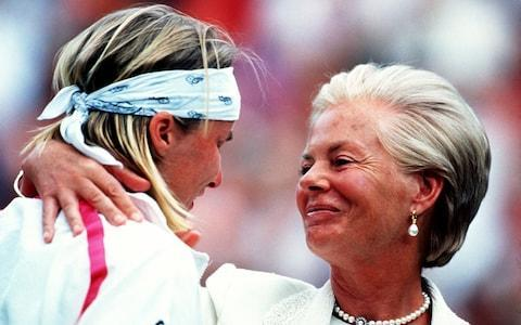 <span>Jana Novotna is consoled by the Duchess of Kent after her defeat to Steffi Graf in 1993</span> <span>Credit: Getty Images </span>