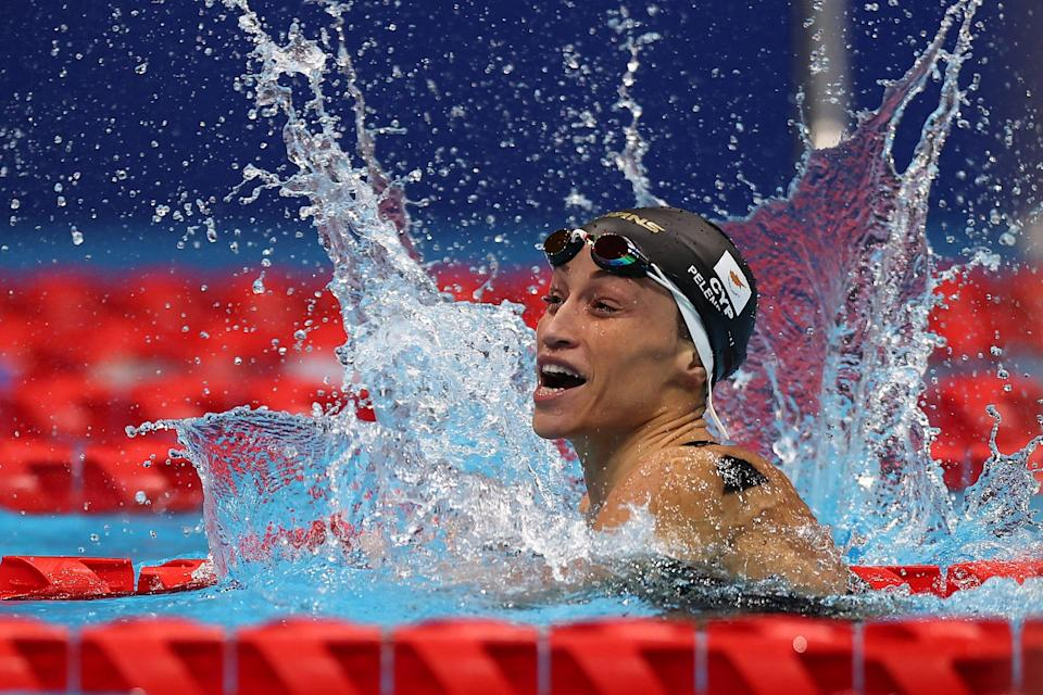 Cyprus' Karolina Pelendritou reacts after winning the gold medal and setting a world record in the women's 100m Breastroke at the Tokyo Paralympics.