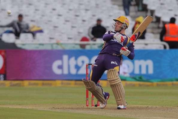 CAPE TOWN, SOUTH AFRICA - OCTOBER 15: Brendon McCullum of the Kolkata Knight Riders in action during the Karbonn Smart CLT20 match between Kolkata Knight Riders (IPL) and Auckland Aces (New Zealand) at Sahara Park Newlands on October 15, 2012 in Cape Town, South Africa. (Photo by Carl Fourie/Gallo Images/Getty Images)