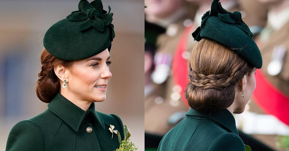<p>For St. Patrick's Day, Middleton wore the ends of her hair tucked up into a voluminous loop with the face-framing pieces of hair braided and criss-crossed at the back of her head. We don't know 100-percent what to call it except that it's basically a work of hair art.</p>