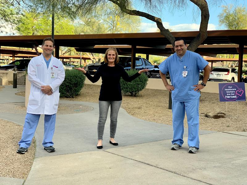 Dr. Robert Riley, Olivera Dedic and Dr. Anselmo Garcia after the successful treatment of Olivera's husband Enes Dedic.
