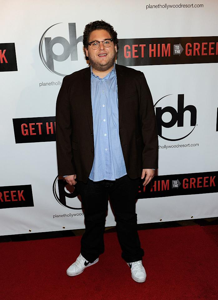 """<a href=""""http://movies.yahoo.com/movie/contributor/1808716500"""">Jonah Hill</a> at the Las Vegas screening of <a href=""""http://movies.yahoo.com/movie/1810081179/info"""">Get Him to the Greek</a> - 05/20/2010"""
