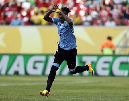 Uruguay's Abel Hernandez celebrates after scoring a goal against Tahiti during their Confederations Cup Group B soccer match at the Arena Pernambuco in Recife June 23, 2013. REUTERS/Ivan Alvarado