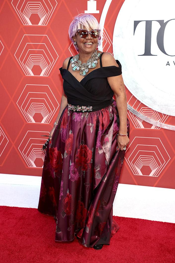 <p>Theatre producer Irene Gandy arrives in style at the 2021 Tony Awards. </p>