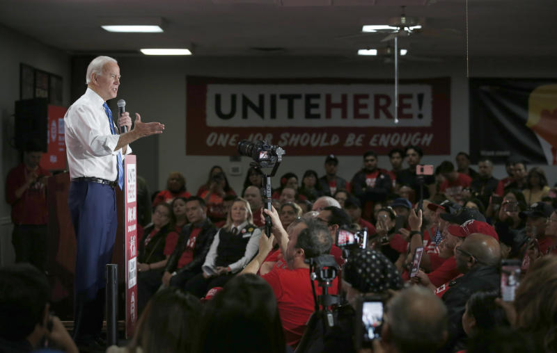 Democratic presidential candidate and former Vice President Joe Biden speaks during town hall meeting at the Culinary Union, Local 226, headquarters in Las Vegas Wednesday, Dec. 11, 2019. (Steve Marcus/Las Vegas Sun via AP)