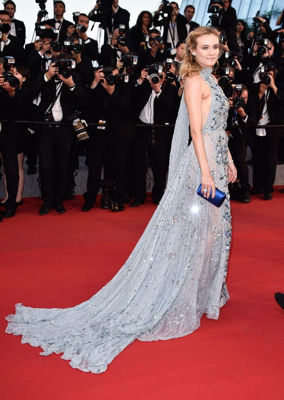 <p>The icy blue dress with a fluttery train and crystal details that Diane Kruger wore to the 2015 Cannes Film Festival makes her look a lot like the Snow Queen.</p>