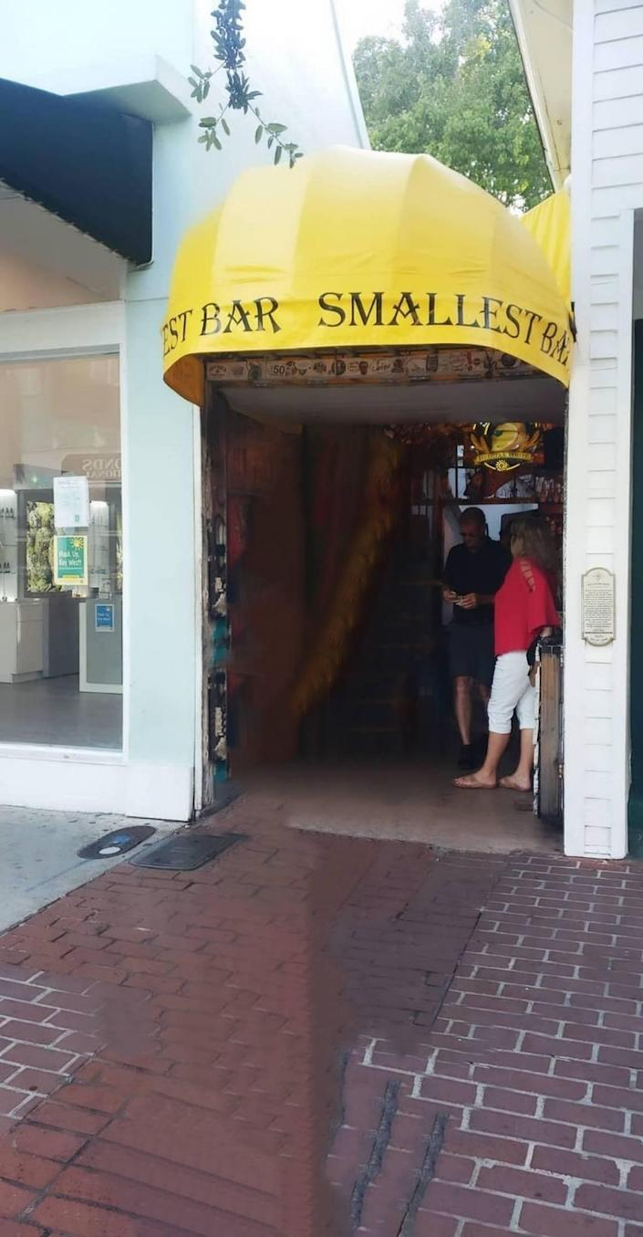 The Smallest Bar Inn Key West is located at 124 Duval Street, Key West.