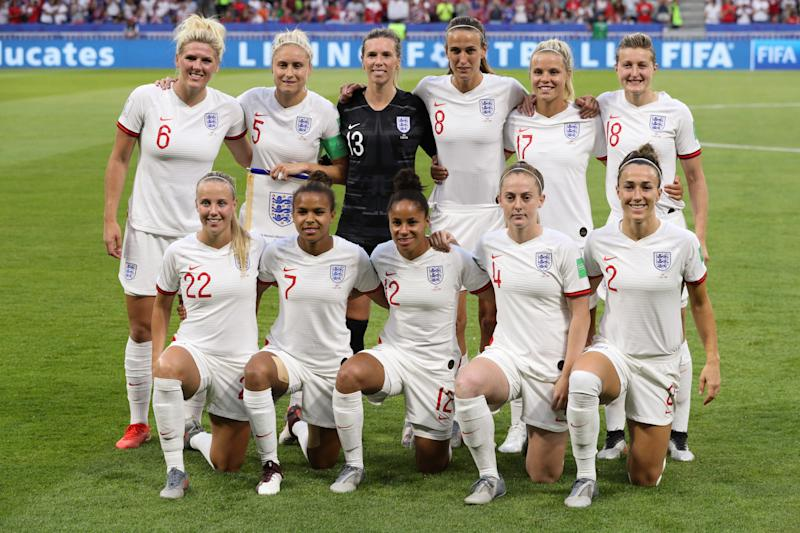 LYON, FRANCE - JULY 02: The England starting line-up pose for a photo ahead of the 2019 FIFA Women's World Cup France Semi Final match between England and USA at Stade de Lyon on July 2, 2019 in Lyon, France. (Photo by Craig Mercer/MB Media/Getty Images)