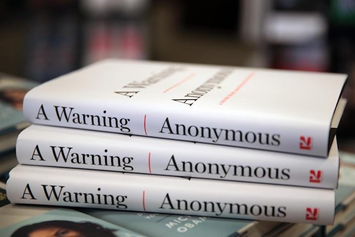 "Copies of ""A Warning"" by Anonymous are offered for sale at a Barnes & Noble store on November 19, 2019 in Chicago, Illinois. (Scott Olson/Getty Images)"