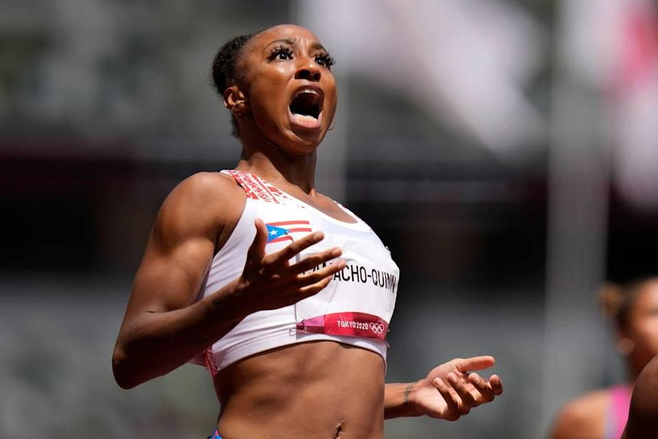 Jasmine Camacho-Quinn, of Puerto Rico, reacts after winning the women's 100-meters hurdles final at the 2020 Summer Olympics, Monday, Aug. 2, 2021, in Tokyo. (AP Photo/Petr David Josek)