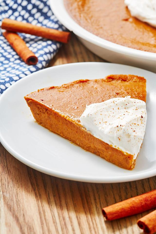 "<p>No crust, no problem. The pumpkin is what really matters here.</p><p>Get the recipe from <a href=""https://www.delish.com/cooking/recipe-ideas/a28576182/crustless-pumpkin-pie-recipe/"" target=""_blank"">Delish</a>.</p>"