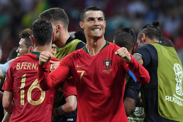 Ronaldo celebrates scoring in Portugal's thrilling 3-3 draw with Spain (Getty).
