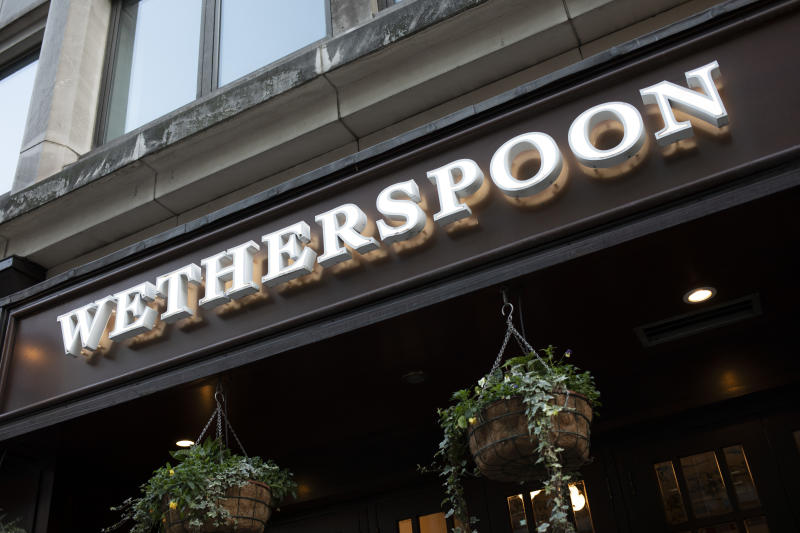 Sign for the brand Wetherspoons on 10th January 2020 in London, England, United Kingdom. J D Wetherspoon plc (branded as Wetherspoon, and commonly known as Spoons) is a pub company in the United Kingdom and Ireland. Founded in 1979 by Tim Martin, the company operates nearly 900 pubs, including the chain of Lloyds No. 1 bars, and a growing number of Wetherspoon hotels. (photo by Mike Kemp/In Pictures via Getty Images)
