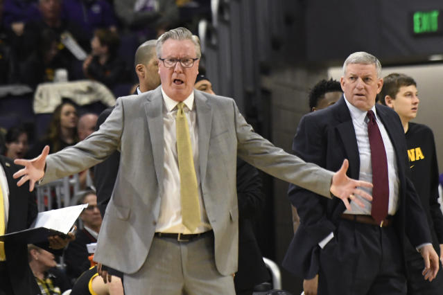 Iowa coach Fran McCaffery gestures to the officials during the first half of the team's NCAA college basketball game against Northwestern on Tuesday, Jan. 14, 2020, in Evanston, Ill. (AP Photo/David Banks)