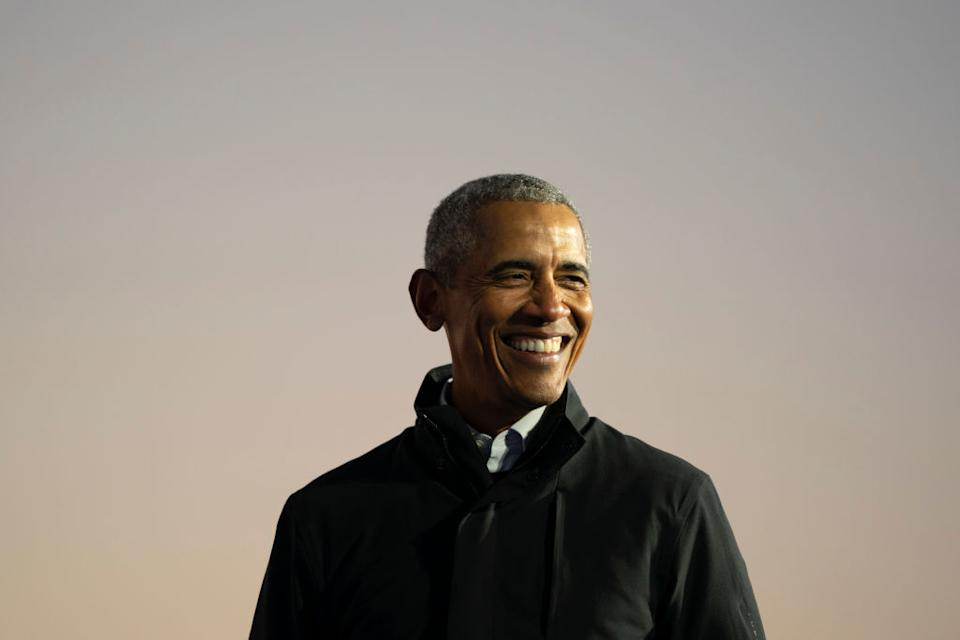 Barack Obama is #ageing goals, pictured in October 2020. (Getty Images)
