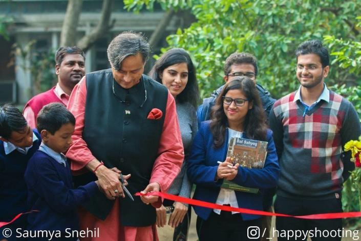 Lok Sabha MP Shashi Tharoor inaugurating the Anthill playground at BalSahyog in Delhi, in December 2017.