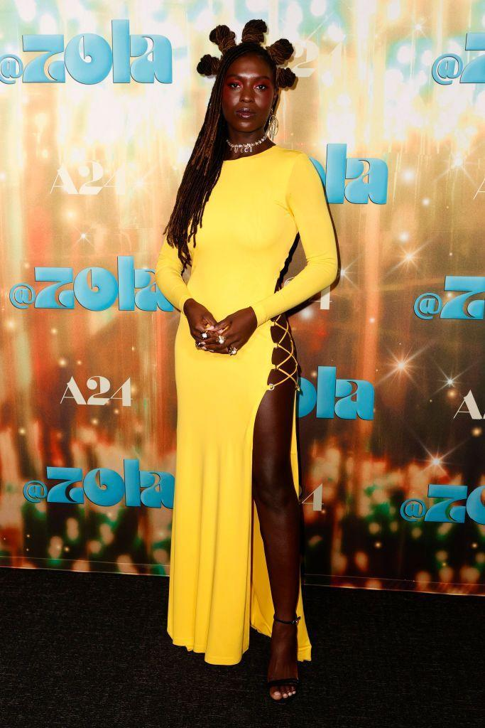 <p>For the hotly-anticipated film Zola's premiere 34-year-old Turner-Smith stepped into a daring backless dress by Dundas, pairing it with a Gucci choker. </p>
