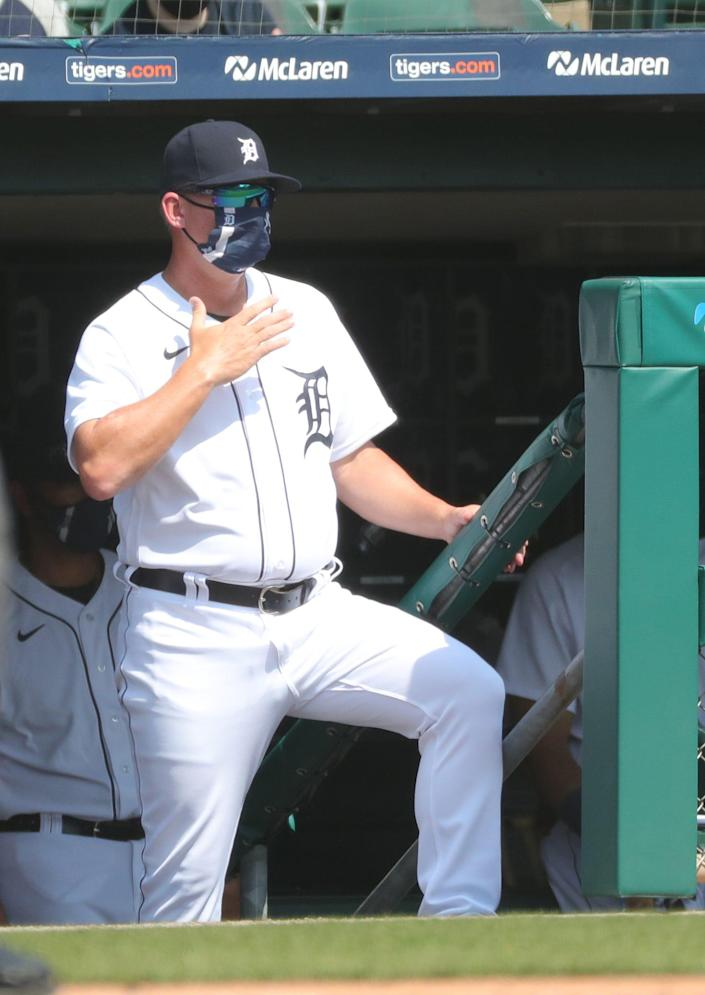 Tigers manager AJ Hinch watches from the dugout during the third inning on Wednesday, April 7, 2021, at Comerica Park.