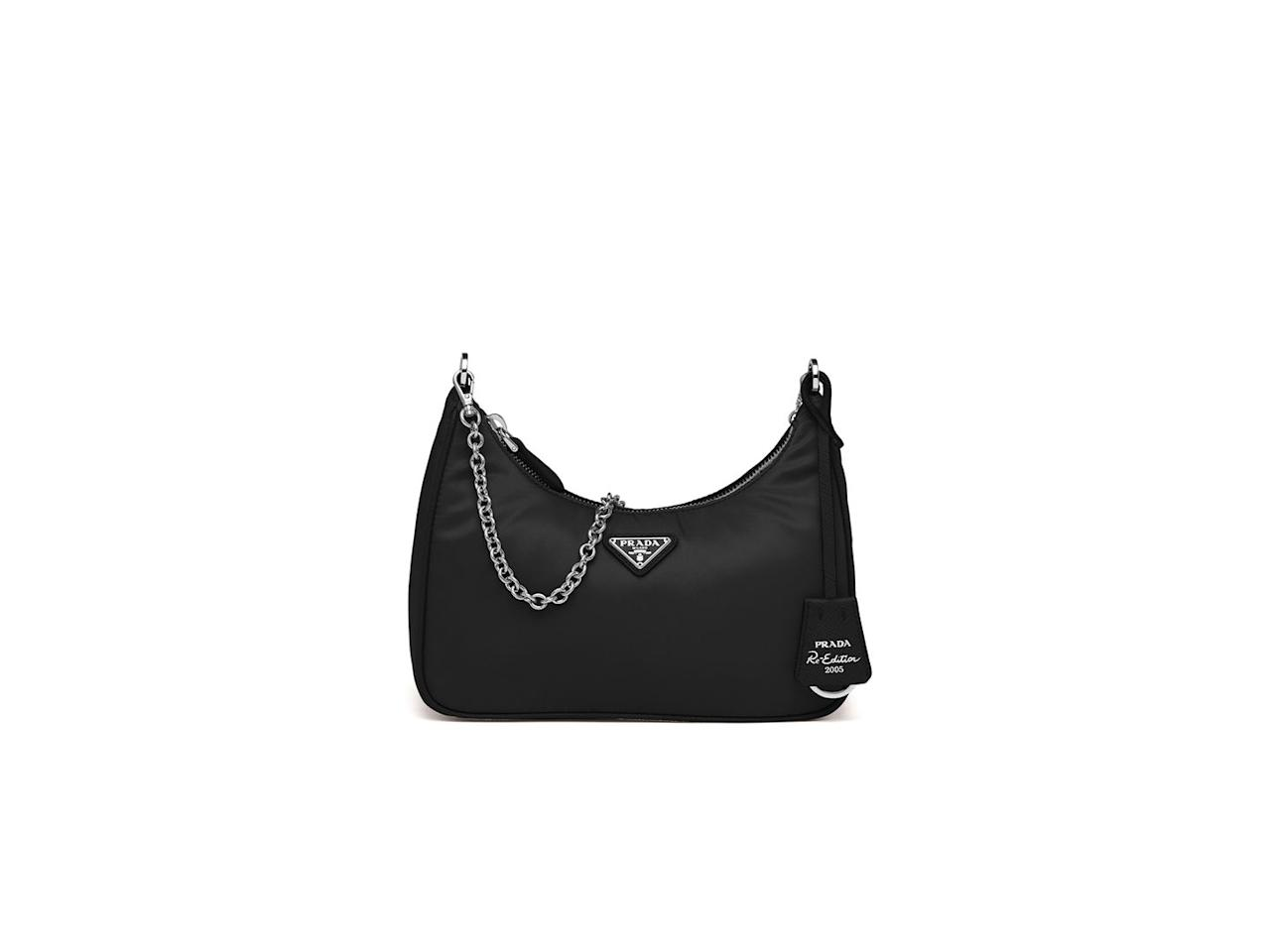 "<p><a class=""body-btn-link"" href=""https://www.prada.com/gb/en/women/bags/shoulder_bags/products.prada_re-edition_2005_nylon_shoulder_bag.1BH204_064_F0002_V_V1L.html"" target=""_blank"">SHOP NOW</a> </p><p>Prada's re-edition of its well-known 2005 accessory is this season's 'It' bag for influencers everywhere. It comes in a wide range of colours, but we love the classic black.</p><p>Re-edition 2005 nylon bag, £895, <a href=""https://www.prada.com/gb/en/women/bags/shoulder_bags/products.prada_re-edition_2005_nylon_shoulder_bag.1BH204_064_F0002_V_V1L.html"" target=""_blank"">Prada</a></p>"