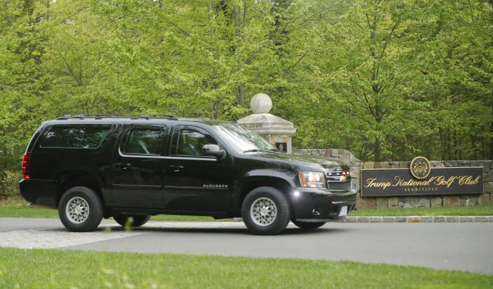 An SUV transporting President Trump leaves the Trump National Golf Club in Bedminster, N.J., in May. (Photo: Pablo Martinez Monsivais/AP)
