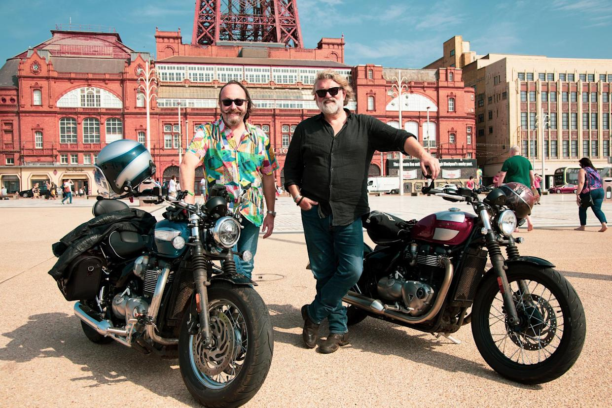 Programme Name: The Hairy Bikers Go North - TX: 23/09/2021 - Episode: The Hairy Bikers Go North - Ep1 Lancashire (No. 1 - Lancashire) - Picture Shows: at Blackpool Tower. Dave Myers, Si King - (C) South Shore Productions - Photographer: Jon Boast
