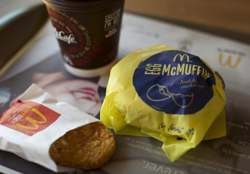 "An Egg McMuffin meal is pictured at a McDonald's restaurant in Encinitas, California August 13, 2015. McDonald's Corp, which is expected to offer all-day breakfasts starting this fall to turn around slumping U.S. sales, is the top choice for ""Breakfastarians,"" who crave breakfast food at any hour, according to a new survey obtained by Reuters on August 17, 2015. Picture taken August 13, 2015. REUTERS/Mike Blake"